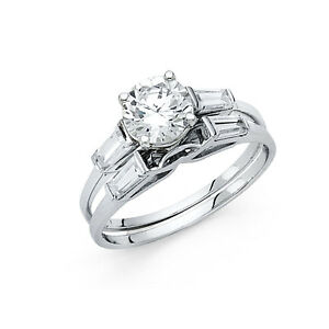14k-White-Gold-Diamond-Solitaire-Engagement-Ring-Set-Baguette-Wedding-Band