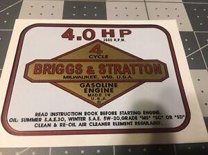 Briggs & Stratton 4-hp Vertical Shaft Lawnmower Decals Set Snapper MTD Murray