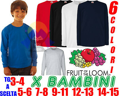 Special Section T-shirt Da Bambini A Maniche Lunghe Scuola Fruit Of The Loom Maglia Maglietta With The Most Up-To-Date Equipment And Techniques Abbigliamento E Accessori