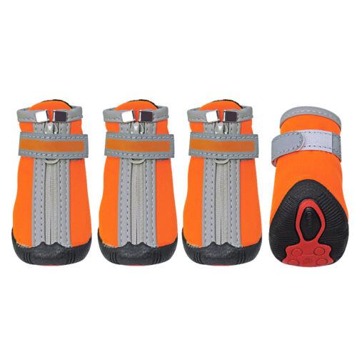 4pcs No Slip Dog Shoes Soft Fleece Padded Reflective Dog Boots Socks /& Zipper