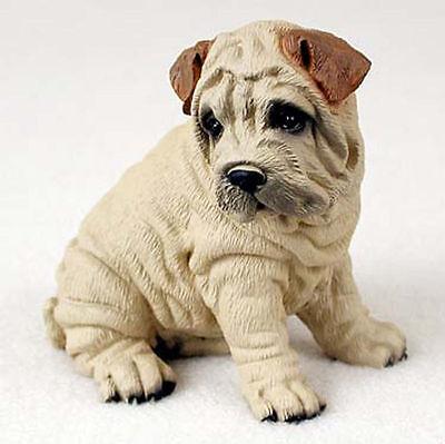 Shar Pei Hand Painted Dog Figurine Statue Cream