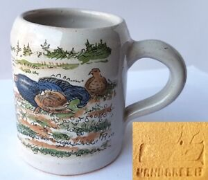 Small-Mug-Ceramics-Hen-Handmade-Signed-L233