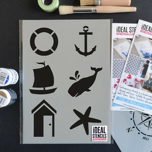 Image Is Loading Nautical Stencil Set Home Decor Wall Fabric Furniture