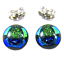 Tiny-DICHROIC-Post-EARRINGS-1-4-034-10mm-Green-Blue-Round-Layered-Fused-GLASS-STUD thumbnail 1