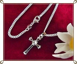 925er-Silber-Kette-mit-Kreuz-Anhaenger-u-Steinbesatz-Kreuzkette-Geschenk-Idee