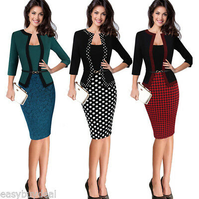 351c01b5394 US SALE Womens Office Lady Formal Business Work Party Sheath Tunic Pencil  Dress