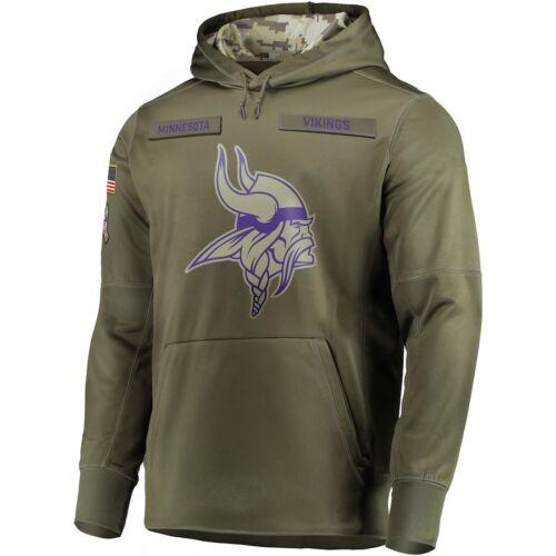 Men/'s Minnesota Vikings Sweatshirt Salute to Service Sideline Therma Hoodie