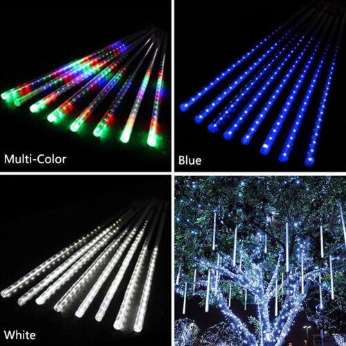 144 LED Lights Meteor Shower Rain Tube Snowfall Tree Garden Christmas 30CM UK