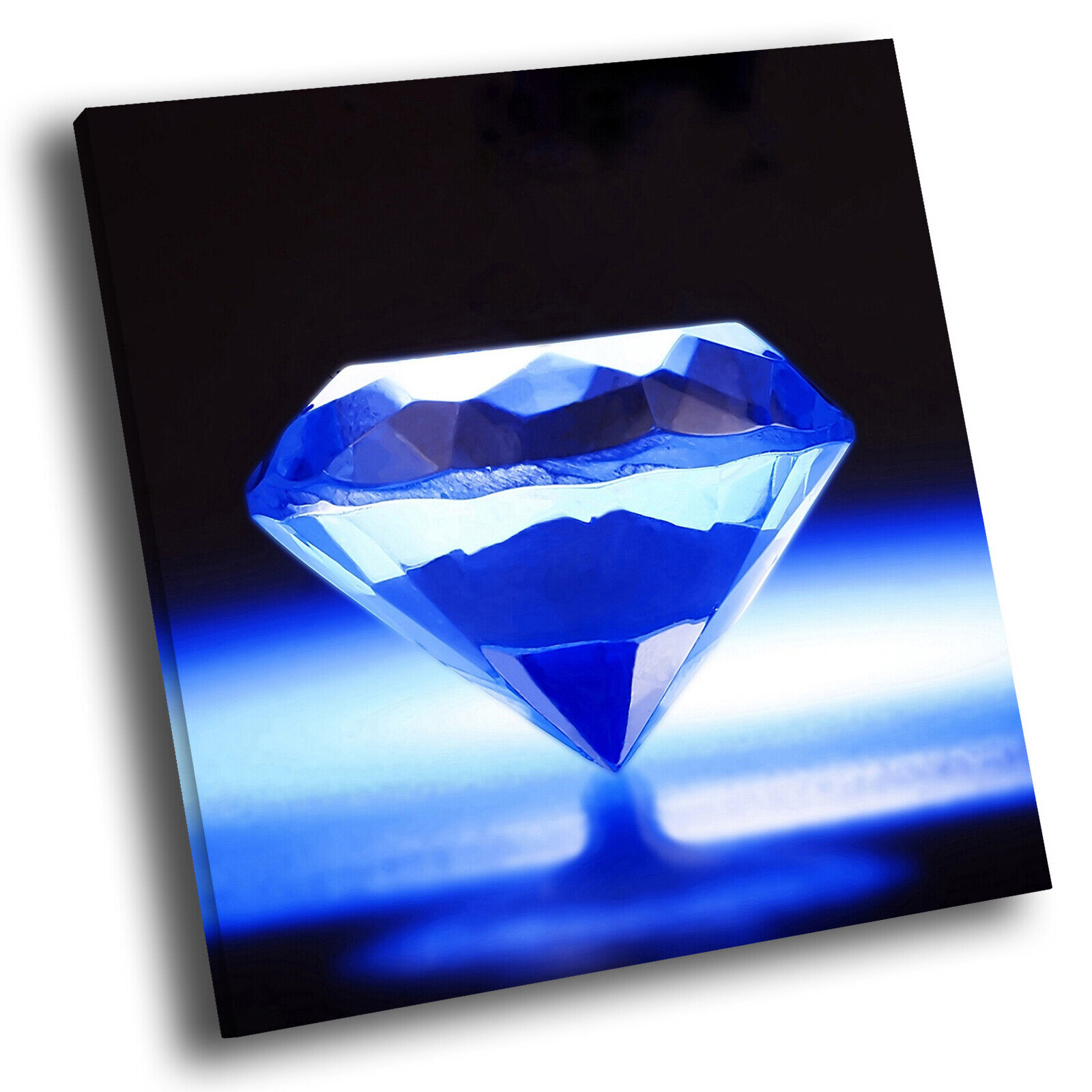 Blau Diamond Pattern Square Abstract Photo Canvas Wall Art Large Picture Prints
