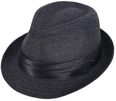 Short Brim Fedora Hat for Men Manhattan Gangster Trilby Cuban Cap Jazz Hats Unisex Costume Vintage Ribbon Band Accent