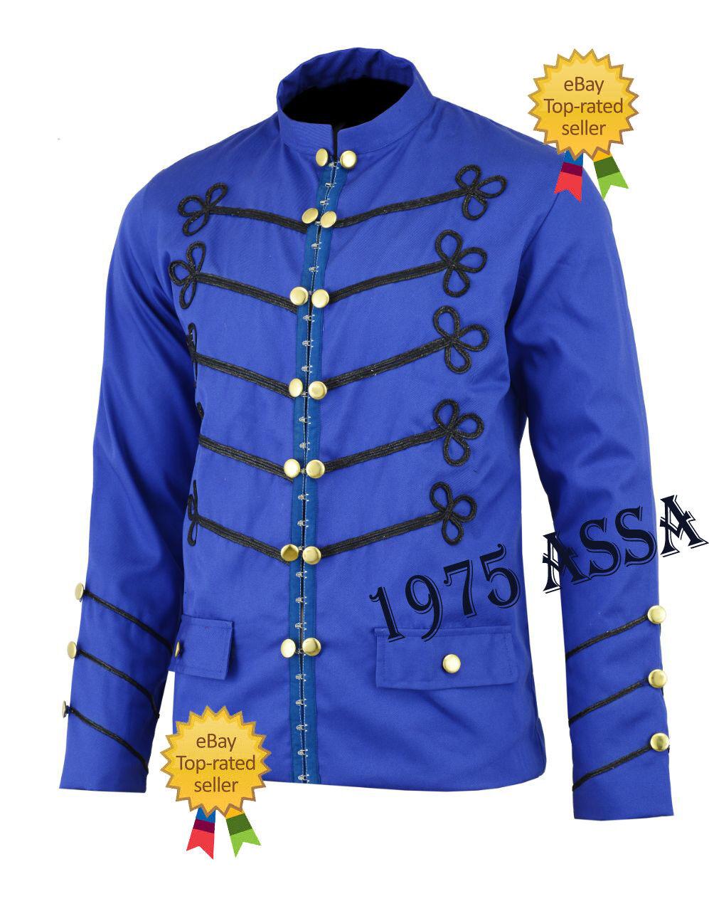 Uomo-handmade-BLU-Ricamo Uomo-handmade-BLU-Ricamo Uomo-handmade-BLU-Ricamo - MILITARI-NAPOLEONE-Hook-Giacca - 100-Cotone 843b5d