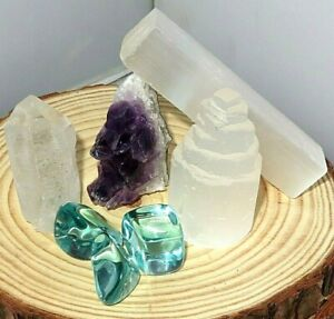 Crystal-collection-Clear-Quatz-Blue-Obsidian-Selenite-Tower-Stick-Amethyst-GIFT