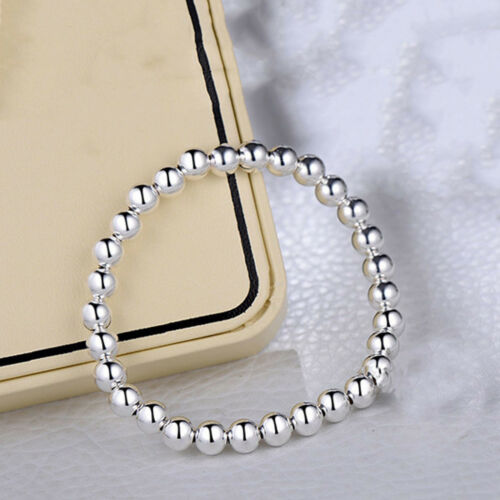 New Arrival Pure S999 Sterling Silver Chain Women Men Smooth Bead Link Bracelet