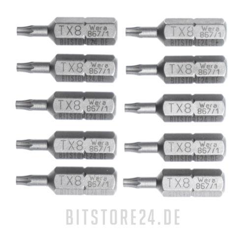 """10x WERA 1//4/"""" Torx Bit in der Größe TX8 T8 Bits, Biteinsatz zähhart"""