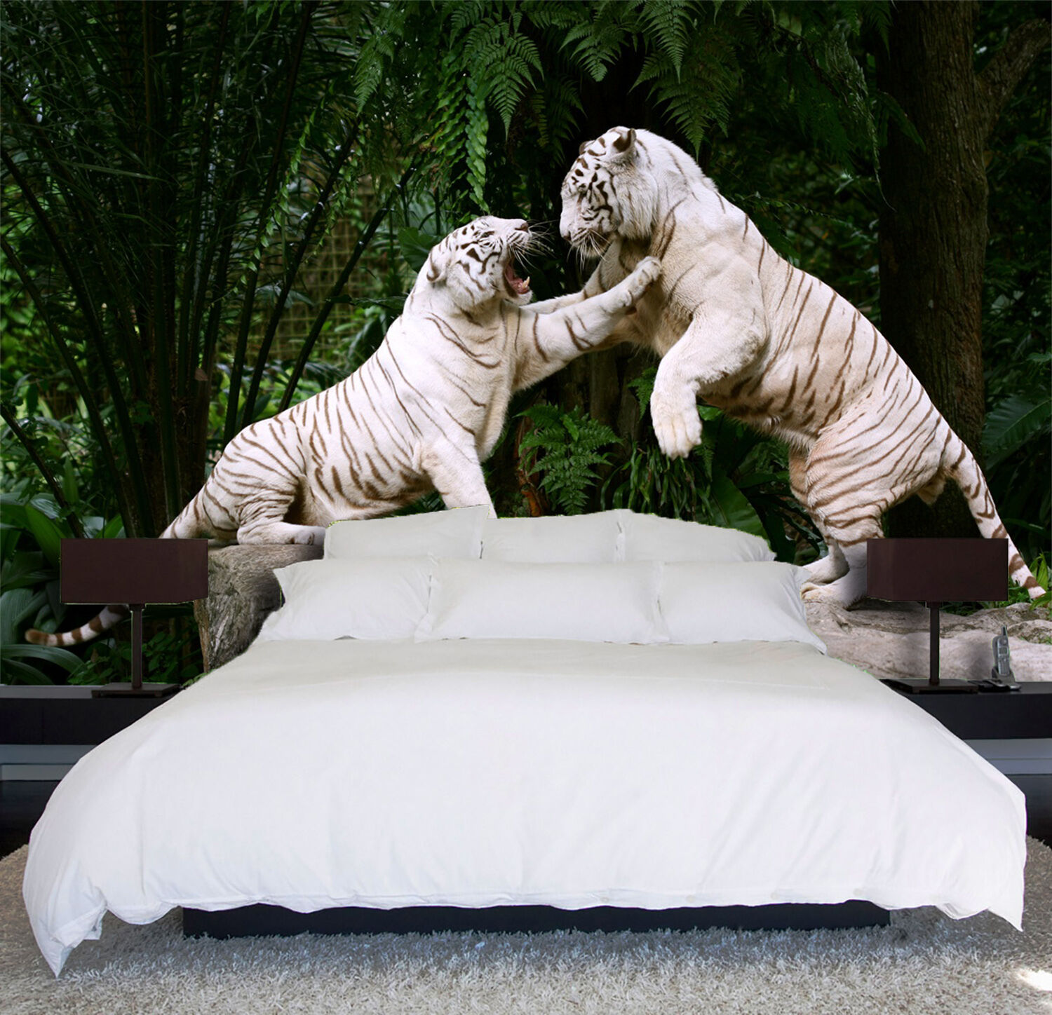 3D Fighting Tigers 21 WallPaper Murals Wall Print Decal Wall Deco AJ WALLPAPER