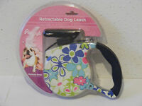 Blue Pink Flower Retractable Dog Leash 16.5' Long Medium To 45 Lbs Easy Use A