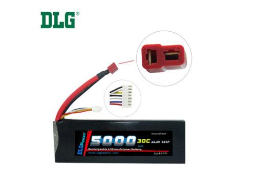 Genuine DLG RC Battery 22.2V 6S 30C 5000mAh Burst 60C Li-Po LiPo Dean/'s T plug