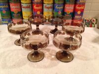 Set of 6 vintage Libbey Tawny Camellia champagne cocktail sorbet glasses