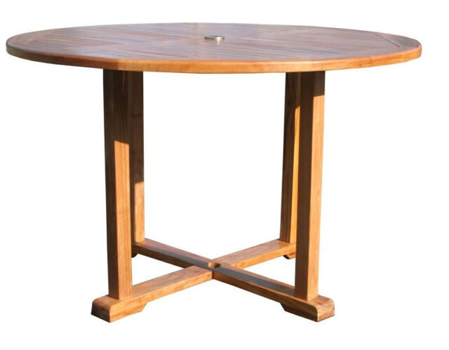Teak Wood Hatteras Round Outdoor Patio Dining Table 48 Inch For Sale Online