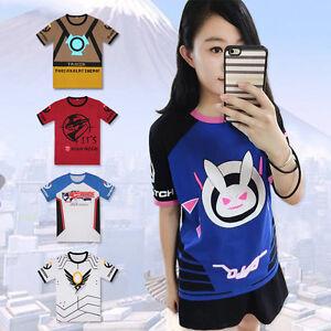 Overwatch-D-VA-DVA-Soldier-76-Tracer-T-shirt-Short-Sleeve-Tee-Cosplay-Anime-Top