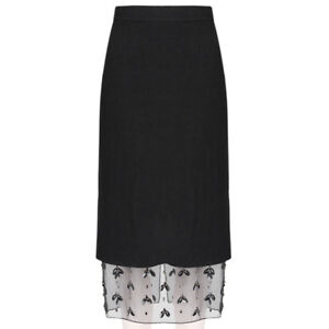 Mother of Pearl Black Layered Pencil Skirt with Sheer Bejewelled Hem UK8 IT40