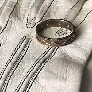 Art-Deco-1919-Rare-Patent-9ct-gold-silver-eternity-ring-Ruby-Diamond-Paste-Sz-N