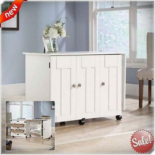 Merveilleux Sewing Machine Desk Table Craft Cabinet Drop Leaf Folding Wood Singer White  Home | EBay