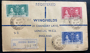 1937-Hong-Kong-First-Day-Cover-FDC-King-George-VI-Coronation-KGVI