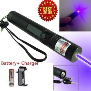 High Power Blue Purple Laser Pointer Pen 5mw 405nm Beam Lazer Burning Military