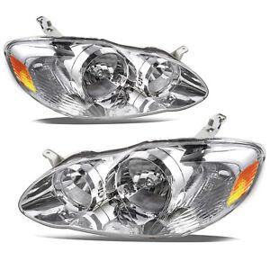 For 2003-2008 Toyota Corolla Chrome Housing Amber Corner Head Light Lamps Pair