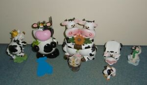 LOT VACHE TIRELIRE SUPPORT TELEPHONE FIGURINES EN TRES BON ETAT NoPPhnqg-09103138-243622347