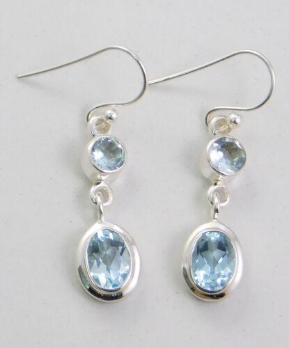 Blue Topaz Amethyst Drop Handmade Gemstone Earring 925 Sterling Silver ME3680