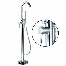 US Bathroom Chrome Floor Install Bath Tub Filler Faucet Handshower Free Standing
