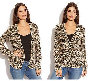 Wrap 700691664047 Cardigan Metallic Sweater Strikket Xs Nwt Blazer Kvinder Brand Blend Uld Lucky 74TxxYSwqa