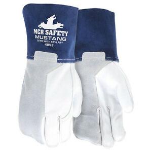 Mcr Safety 4853M Welding Leather Glove,Blue/Gray,M,Pk12