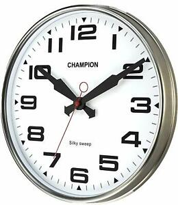 Champion-Non-ticking-Sweeping-Seconds-Hand-Quartz-Wall-Clock-Domed-Glass-Lens