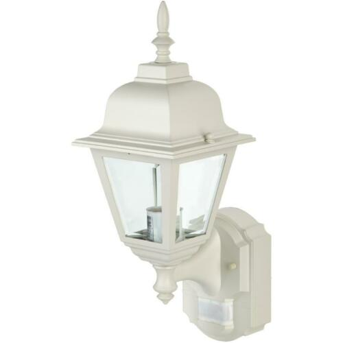Cottage Style White Outdoor Coach Light Fixture with Motion Sensor