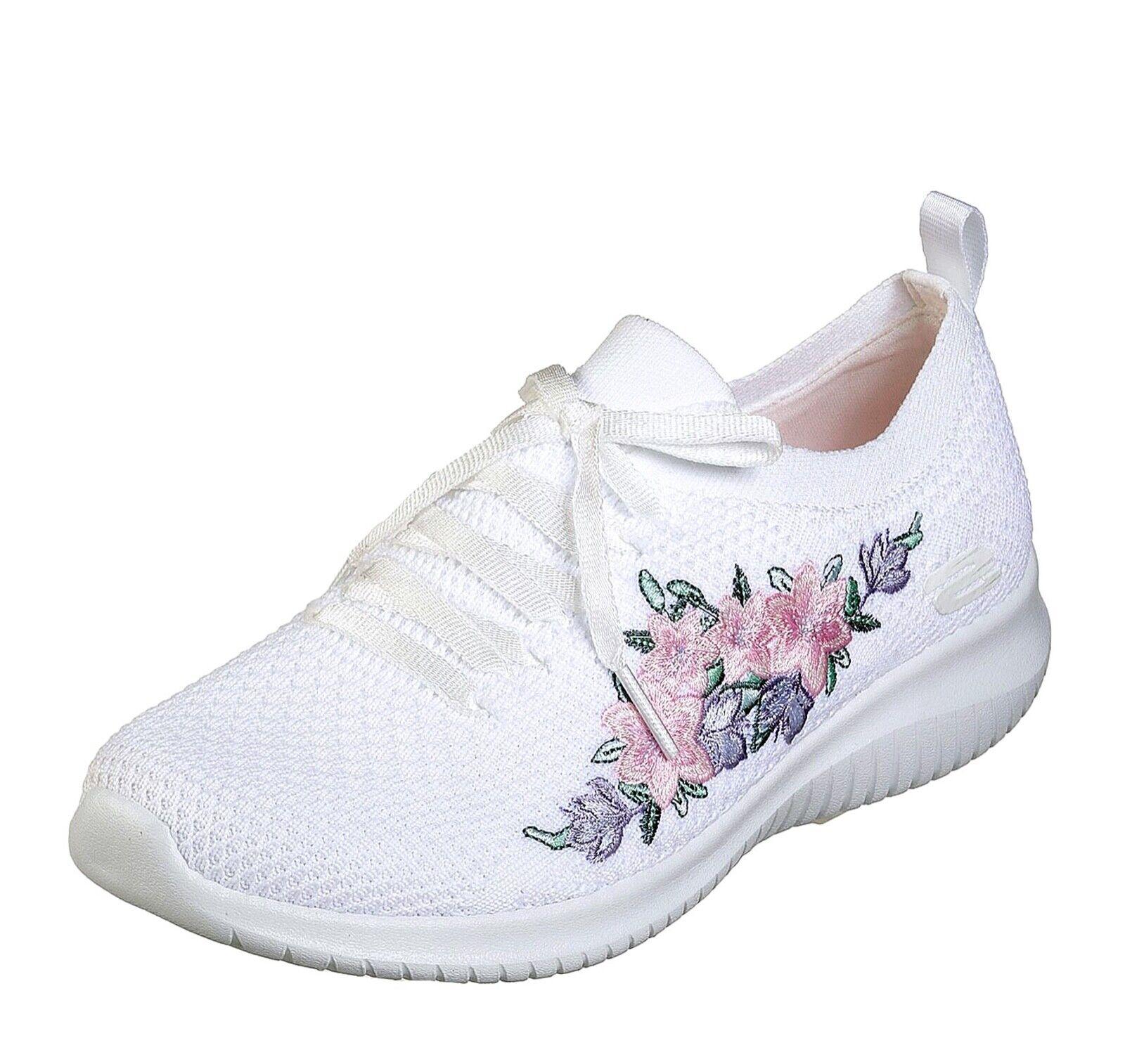 Skechers Nuevo Ultra Flex Fresco Pick blancoo Floral Floral Floral De Espuma De Memoria Entrenadores Talla 3-8  nueva gama alta exclusiva