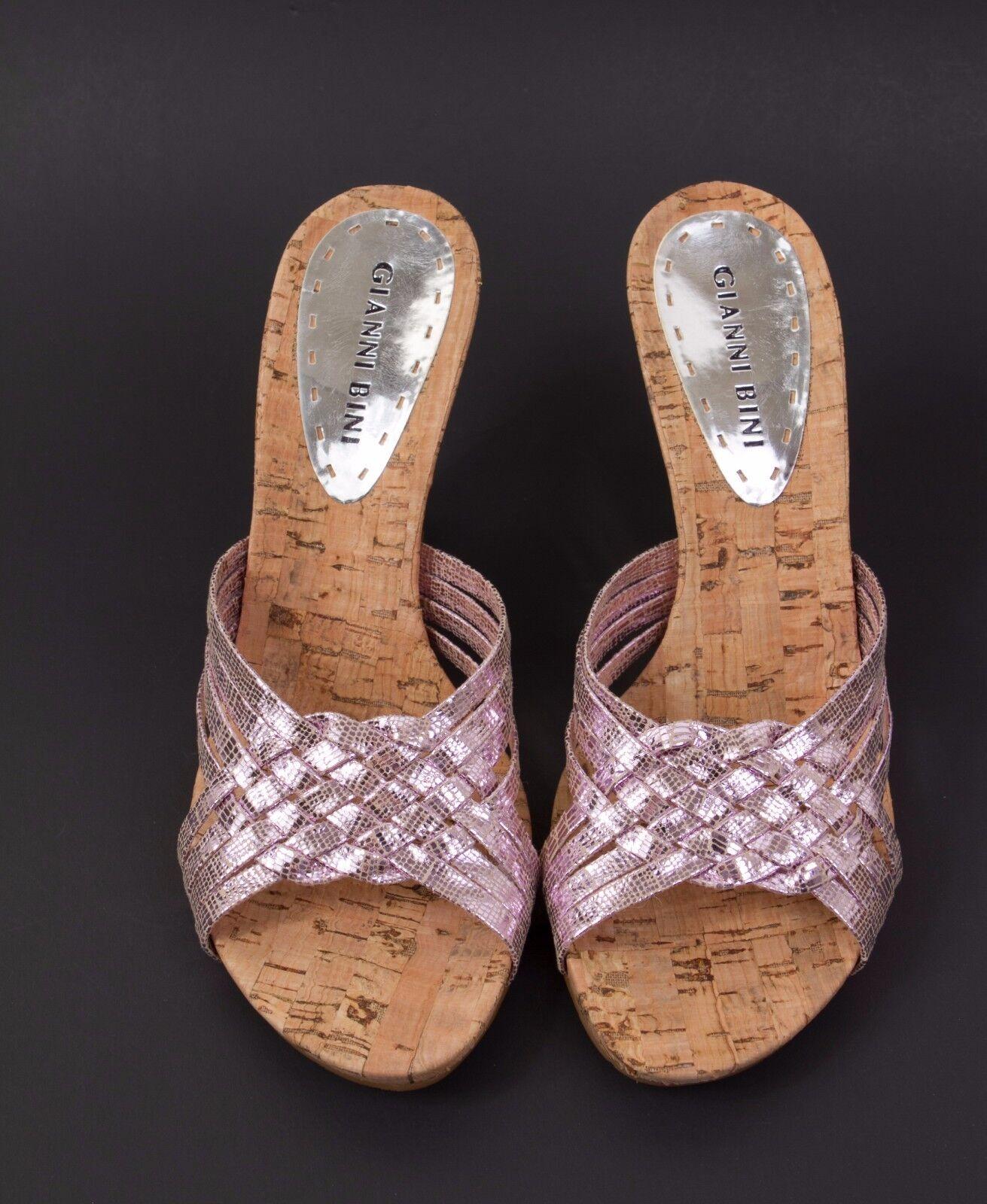 GIANNI On BINI Pink Silver Slip On GIANNI Wedges Größe 6.5 NEW 36cb28