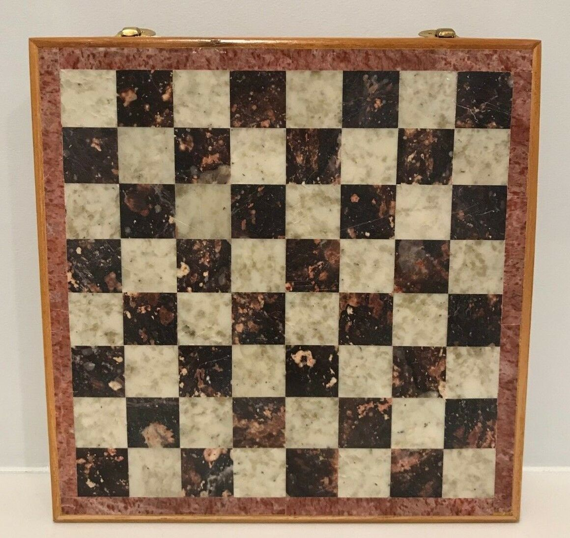 Vintage Marble & Wood Chess Board & Luxury Set w 32 Pieces - Great for travel