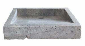 Chiseled Rectangular Natural Stone Vessel Sink - Antico Travertine