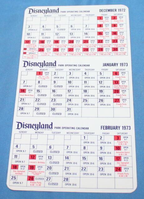 Nice Rare Vintage Disneyland Cast Member Calendar December 1972 Thru