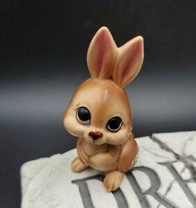 "VINTAGE Josef Originals Brown Bunny Rabbit JAPAN 3"" Sticker sitting up big eyes"