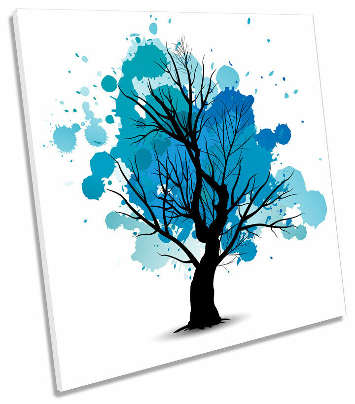 Blau Tree Autumn Abstract SQUARE CANVAS WALL ART Picture Print