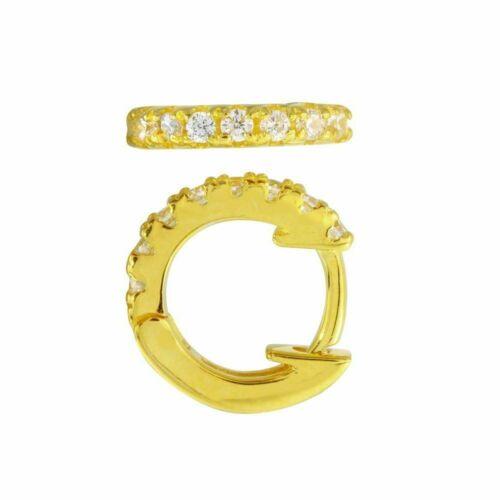 Or Jaune Sur Argent Sterling 925 CALIN Boucles d/'oreilles avec Labo Diamants//Taille 10 mm