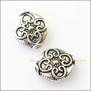 4Pcs Antiqued Silver Tone Oval Flower Heart Spacer Beads Charms 12.5x14mm