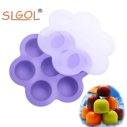 7 Grids Ice Ball Mold BPA Free Silicone DIY Food Freezer Storage Tray with Lid