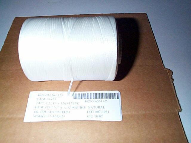 white nylon tape lacing and tying type 1 finish C size 4 500 yards 25lbs test