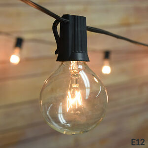 String Lights Standard Bulb : 10 Socket Outdoor Patio String Light Set, G40 Globe Bulbs, 12 FT Black Cord eBay