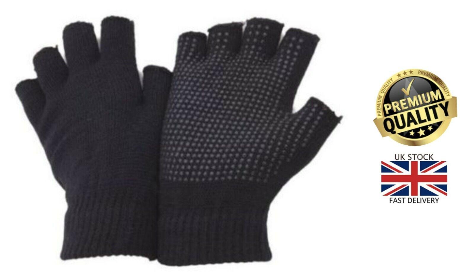 1 Pair Mens Fingerless Handy Work Safety Warehouse Non Slip Gripper Gloves